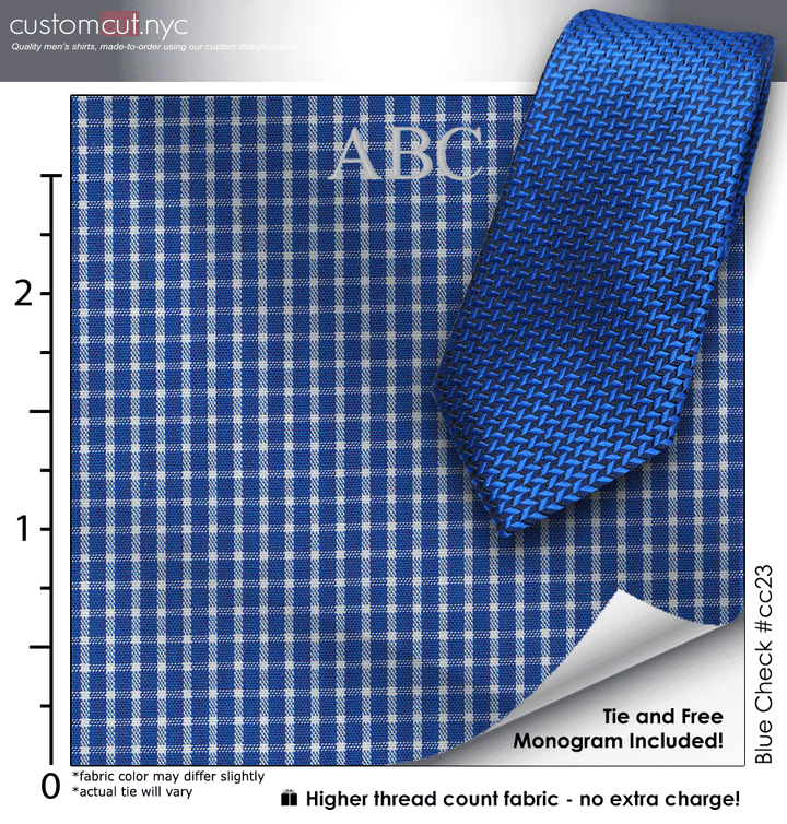 Tie Set, Blue Check #cc23, 100% Cotton Men's Monogrammed Custom Dress Shirt.