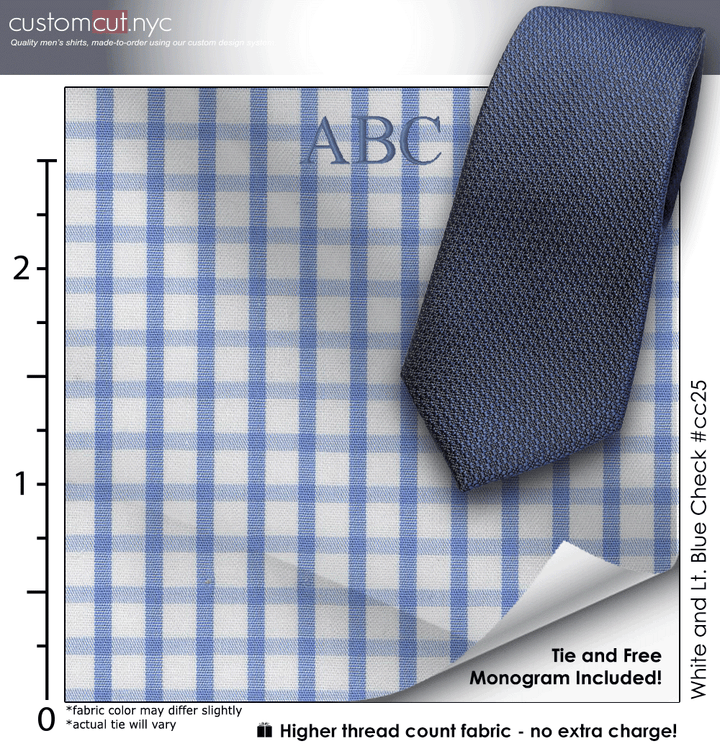 Tie Set, White and Lt. Blue Check #cc25, 100% Cotton Men's Monogrammed Custom Dress Shirt.