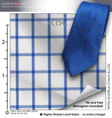 Tie Set, White and Blue Check #cc26, 100% Cotton Men's Monogrammed Custom Dress Shirt.