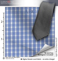 Tie Set, Light Blue Check #cc27, 100% Cotton Men's Monogrammed Custom Dress Shirt.