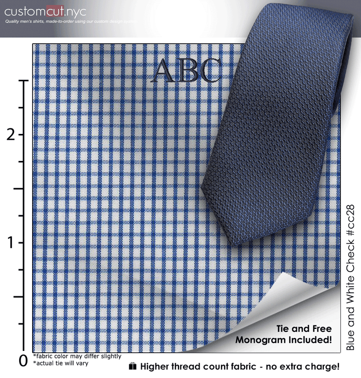 Tie Set, Blue and White Check #cc28, Men's Custom Dress Shirt.