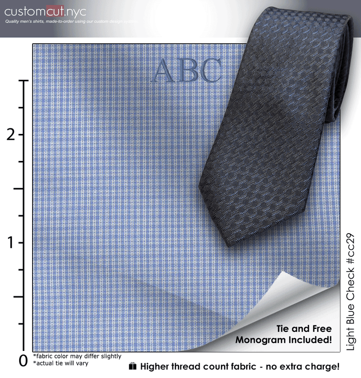 Tie Set, Light Blue Check #cc29, 100% Cotton Men's Monogrammed Custom Dress Shirt.