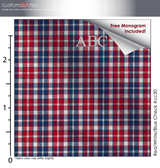 Red/White/Blue Check #cc30, 100% Cotton, Men's Monogrammed Custom Tailored Dress Shirt