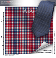 Tie Set, Red/White/Blue Check #cc30, 100% Cotton Men's Monogrammed Custom Dress Shirt.