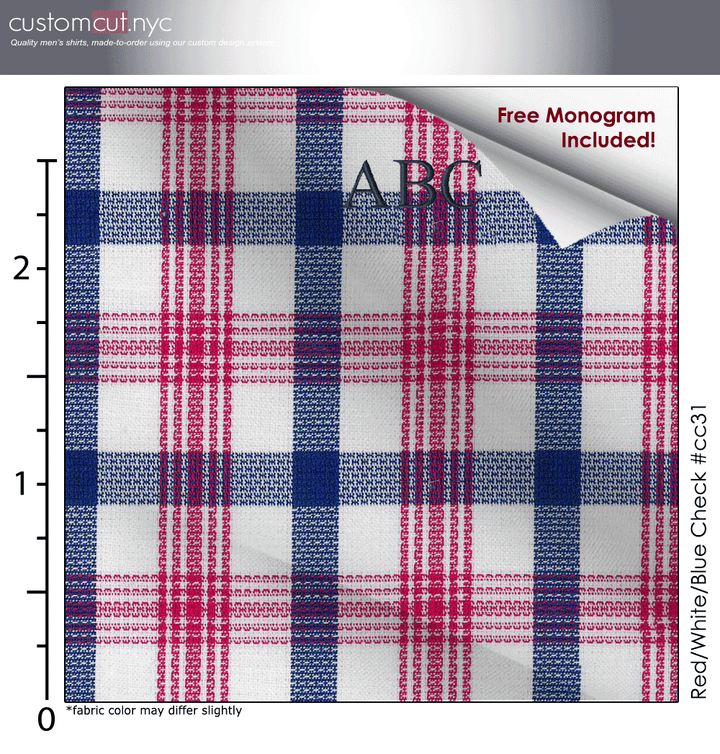Red/White/Blue Check #cc31, 100% Cotton, Men's Monogrammed Custom Tailored Dress Shirt gs