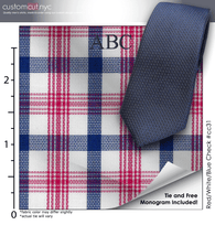 Tie Set, Red/White/Blue Check #cc31, 100% Cotton Men's Monogrammed Custom Dress Shirt.