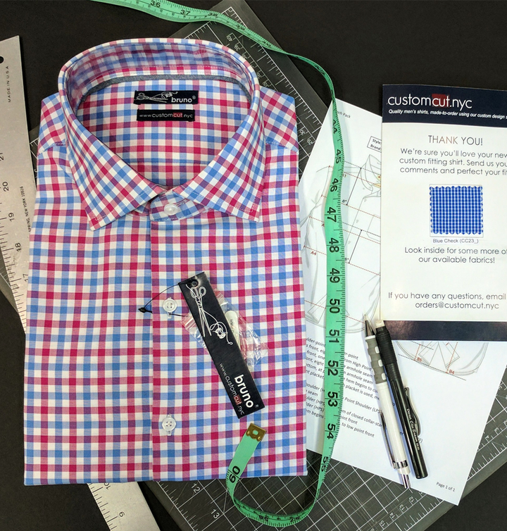 White/Red/Lt. Blue Check #cc33, 100% Cotton Men's Monogrammed Custom Dress Shirt.