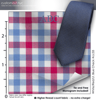 Tie Set, White/Red/Lt. Blue Check #cc33, 100% Cotton Men's Monogrammed Custom Dress Shirt.