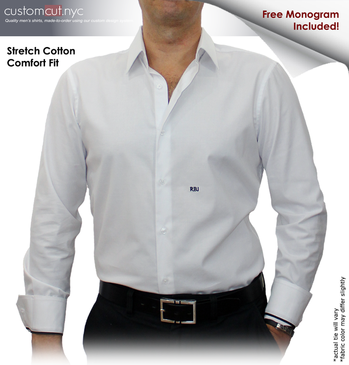 White Custom Plus Size Dress Shirts (ITEM #cc68)