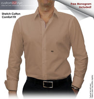 Khaki Solid Stretch Cotton #cc40, 97% Cotton 3%Lycra, 100% Cotton, Men's Monogrammed Custom Tailored Dress Shirt