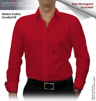 Red Solid Stretch Cotton #cc41, 97% Cotton 3% Lycra, Men's Monogrammed Custom Tailored Dress Shirt