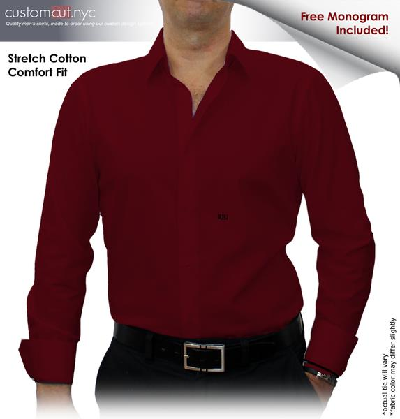 Dark Red Solid Stretch Cotton #cc42, 97% Cotton 3%Lyrca, Men's Monogrammed Custom Tailored Dress Shirt