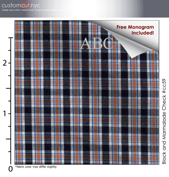 Black and Marmalade Check #cc59,100% Cotton, Men's Monogrammed Custom Tailored Dress Shirt