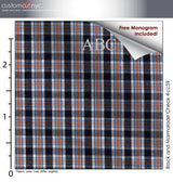 Black and Red Check #cc63, 100% Cotton, Men's Monogrammed Custom Tailored Dress Shirt gs