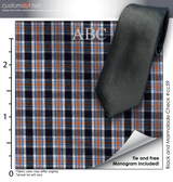 Tie Set, Black and Marmalade Check #cc59, 100% Cotton Men's Monogrammed Custom Dress Shirt.