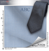 Tie Set, Light Blue Check #cc5, 100% Cotton Men's Monogrammed Custom Dress Shirt.