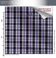 Purple and Black Check #cc60, 100% Cotton, Men's Monogrammed Custom Tailored Dress Shirt