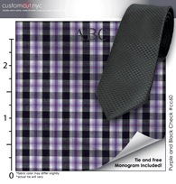 Tie Set, Purple and Black Check #cc60, 100% Cotton Men's Monogrammed Custom Dress Shirt.