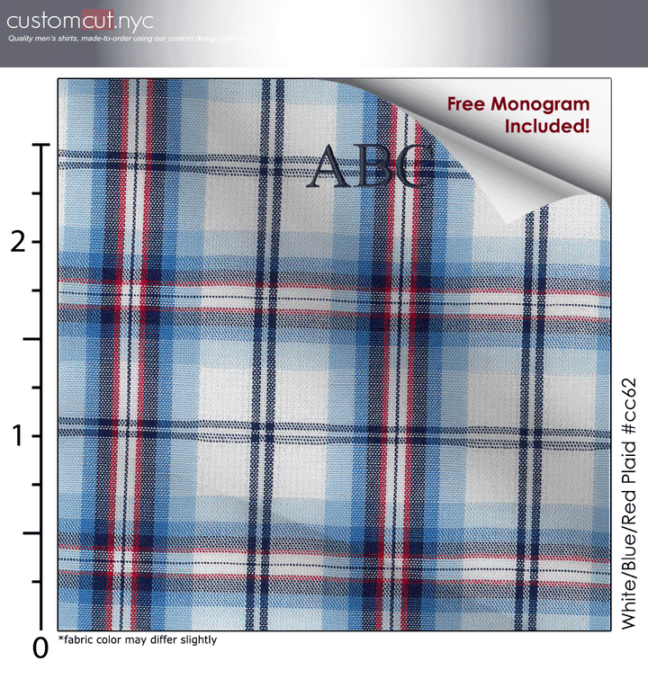 White/Blue/Red Plaid #cc62, 100% Men's Monogrammed Custom Dress Shirt.