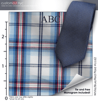 Tie Set, White/Blue/Red Plaid #cc62, 100% Cotton Men's Monogrammed Custom Dress Shirt.