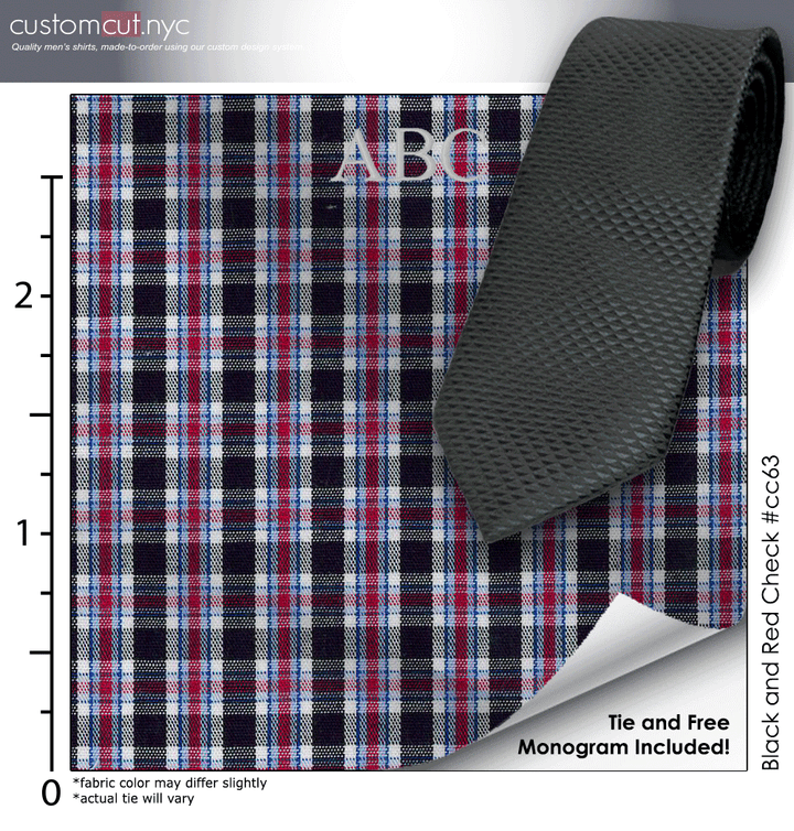 Tie Set, Black and Red Check #cc63, 100% Cotton Men's Monogrammed Custom Dress Shirt.