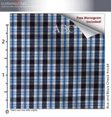 Blue and Black Check #cc64, 100% Cotton, Men's Monogrammed Custom Tailored Dress Shirt