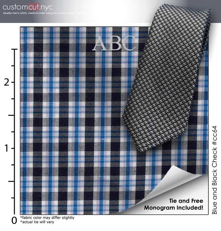 Tie Set, Blue and Black Check #cc64, Men's Custom Dress Shirt.