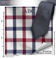 Tie Set, Red/White/Blue Check #cc65, 100% Cotton Men's Monogrammed Custom Dress Shirt.