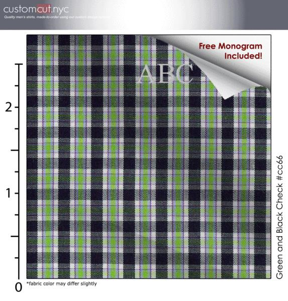 Green and Black Check #cc66, 100% Cotton, Men's Monogrammed Custom Tailored Dress Shirt gs