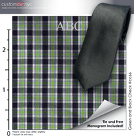 Tie Set, Green and Black Check #cc66, 100% Cotton Men's Monogrammed Custom Dress Shirt.