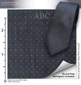 Printed Charcoal/Navy Geo Tie Set# cc67, 100% Cotton, Men's Monogrammed Custom Tailored Dress Shirt