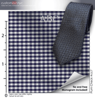 Tie Set, Plum Check #cc7, 100% Cotton Men's Monogrammed Custom Dress Shirt.