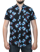 Short Sleeve Printed Button Shirt cc1 gs (#11666)