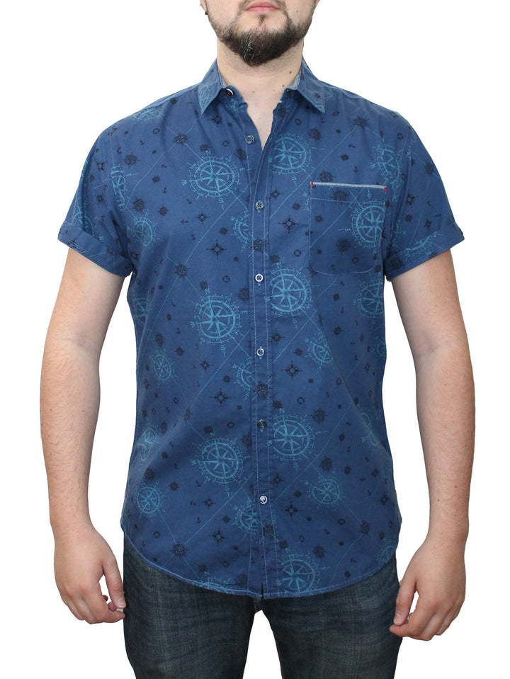 Short Sleeve Printed Button Shirt cc9 gs (#11590)