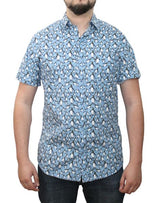 Short Sleeve Printed Button Shirt cc8 100% Cotton gs (#11609)