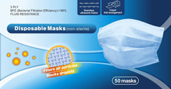 Disposable 3-Ply Face Mask, 50 pack — In Stock, Immediate Free Shipping! Arrives in 2-3 days