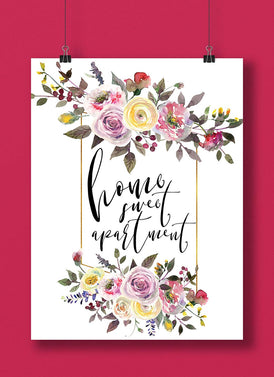 Home Sweet Apartment Floral Hand Lettered Home Print | Wall Art | | Home Decor