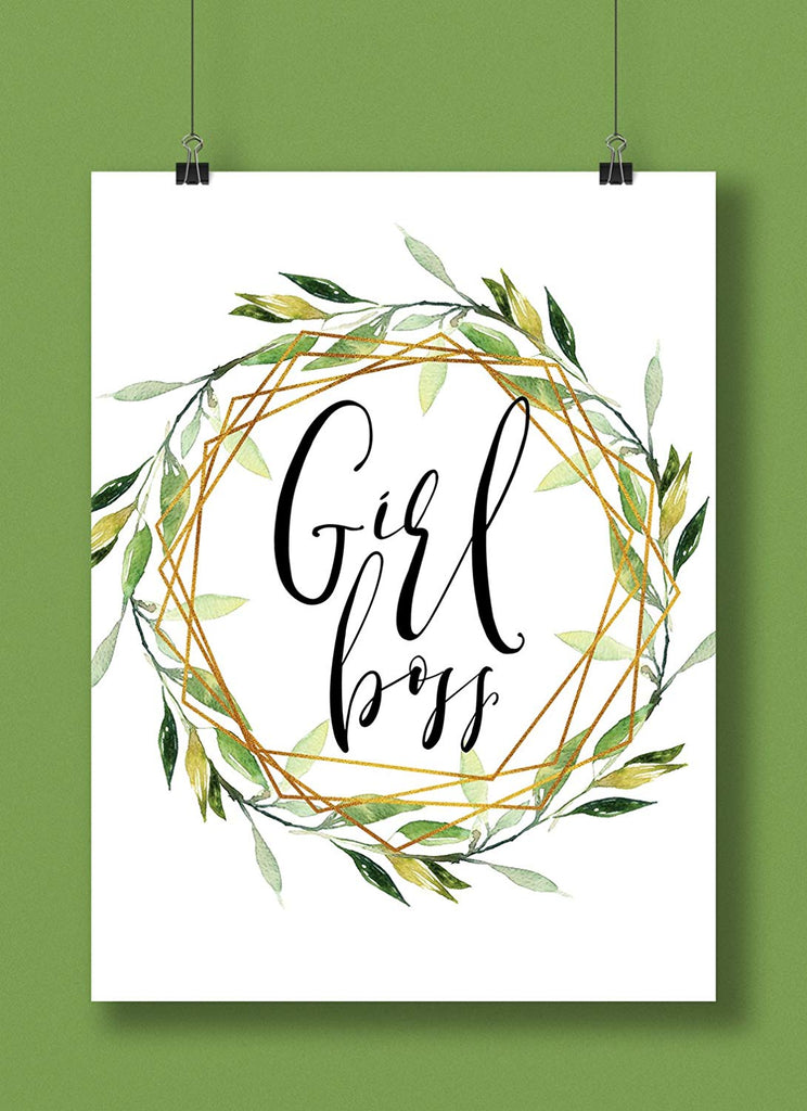 Girl Boss Hand Lettered Greenery Art Print