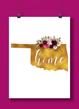 Oklahoma Gold Floral Home Hand Lettered Art Print
