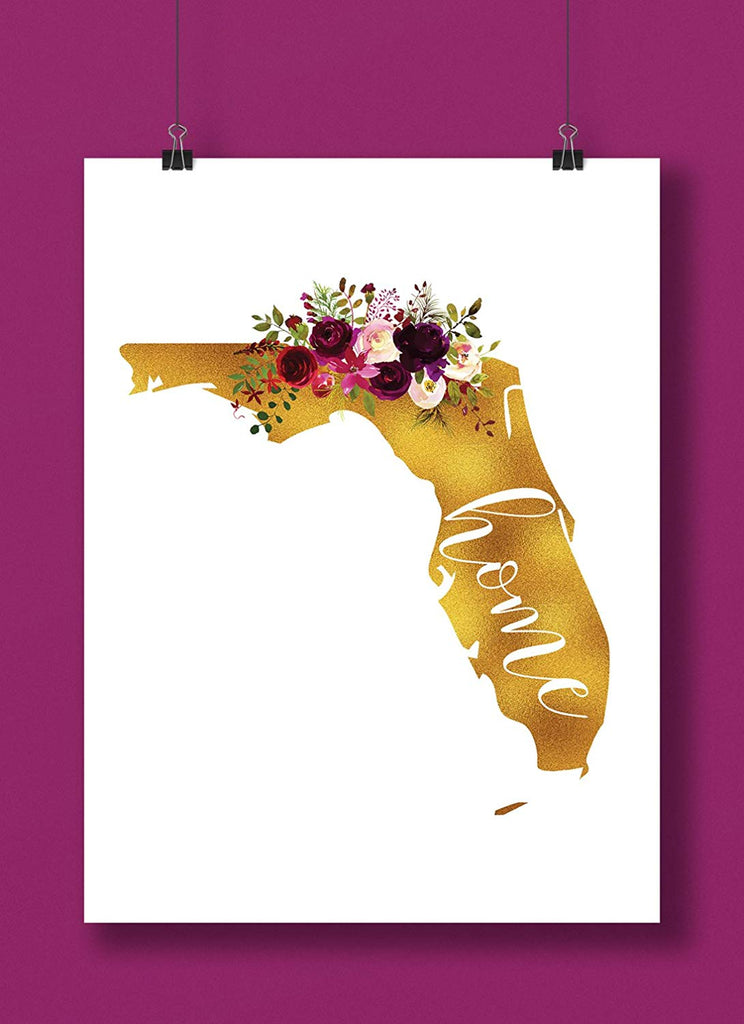 Florida Gold Floral Home Art Print