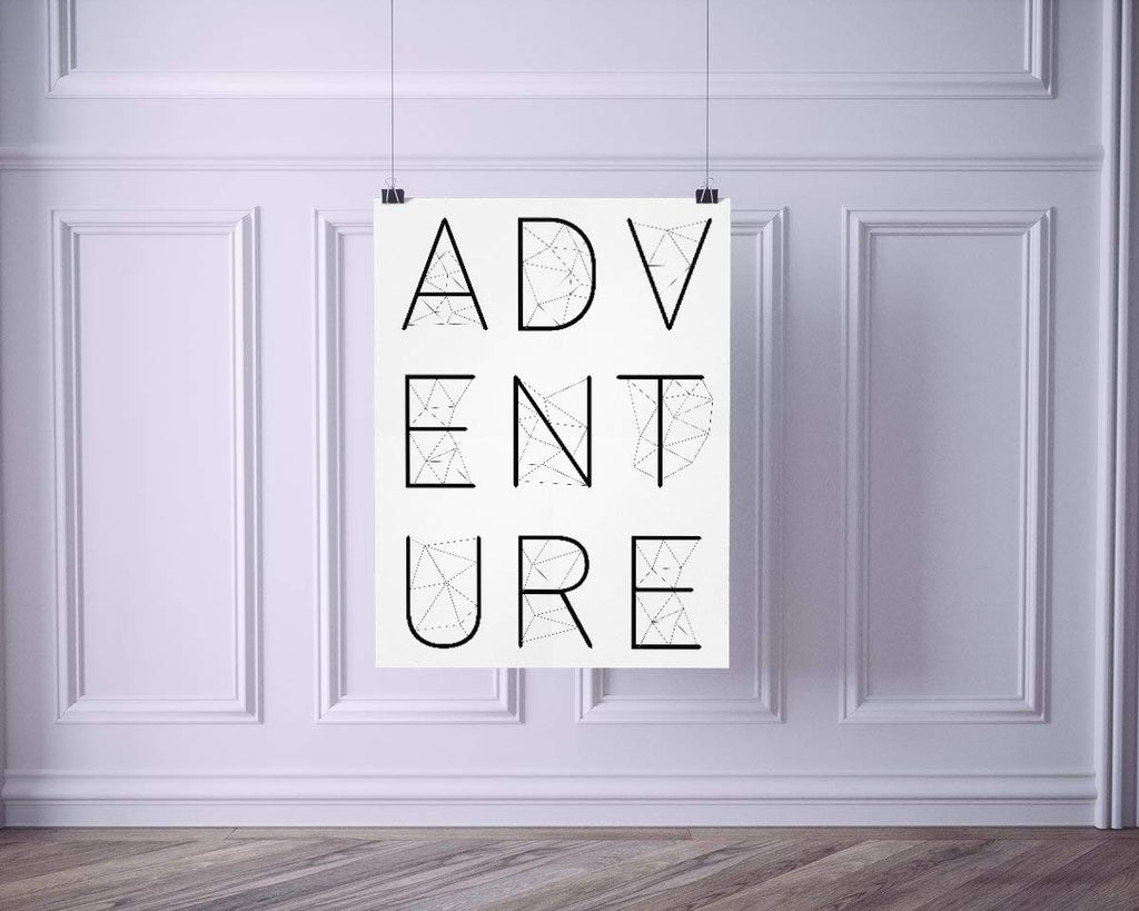 ADVENTURE Poster | Wall Decor | Home Print Modern Black White Geometric Typography