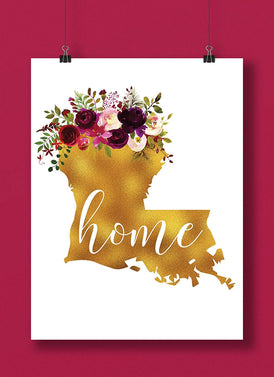 Louisiana Gold Floral Home Hand Lettered Art Print