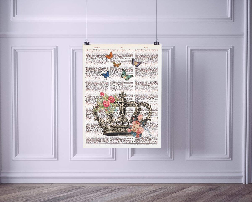 Crown with Flowers and Butterflies Vintage Dictionary Style Art Print | Unframed | 8.5 x 11