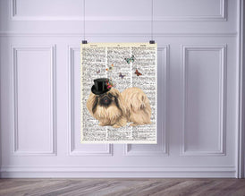 Dapper Dog with Butterflies Vintage Dictionary Style Art Print | Unframed | 8.5 x 11