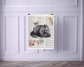 Beware of the Cat Vintage Dictionary Style Art Print | Unframed | 8.5 x 11