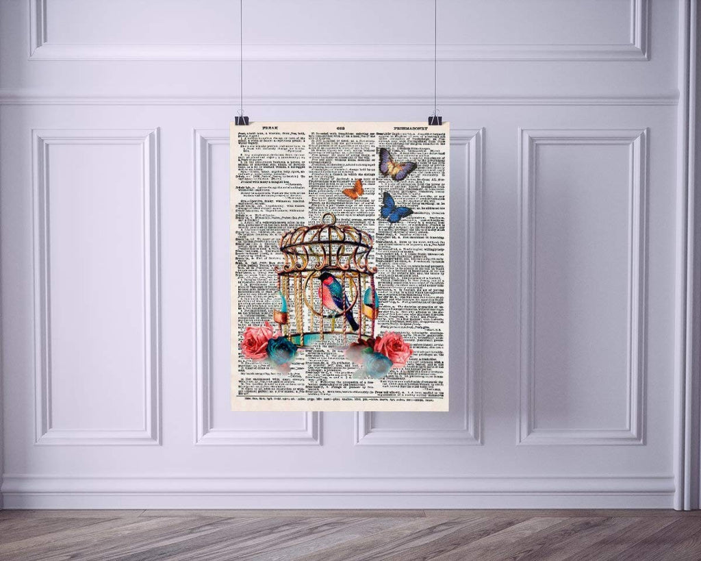 Colorful Bird Cage with Butterflies Vintage Dictionary Style Art Print | Unframed | 8.5 x 11