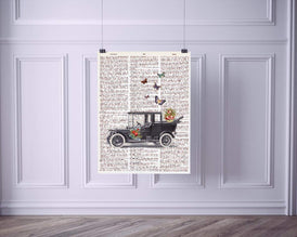 Antique Car with Butterflies Vintage Dictionary Style Art Print | Unframed | 8.5 x 11