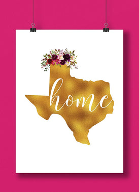 Texas Gold Floral Home Hand Lettered Art Print