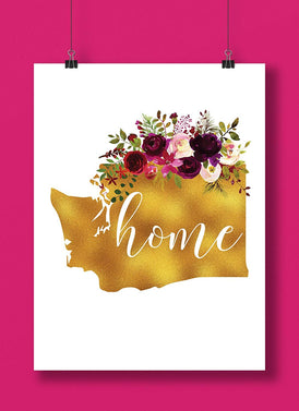 Washington Gold Floral Home Hand Lettered Art Print