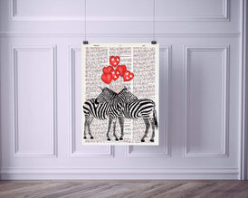 Zebras with Heart Balloons Vintage Dictionary Style Art Print | Unframed | 8.5 x 11